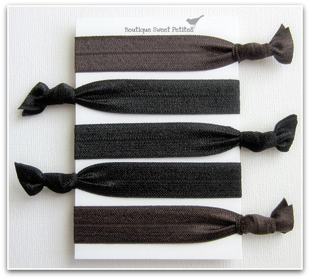 Hair Ties Anthropologie Inspired Double as Bracelets Chocolate Brown Licorice Black Set of 5