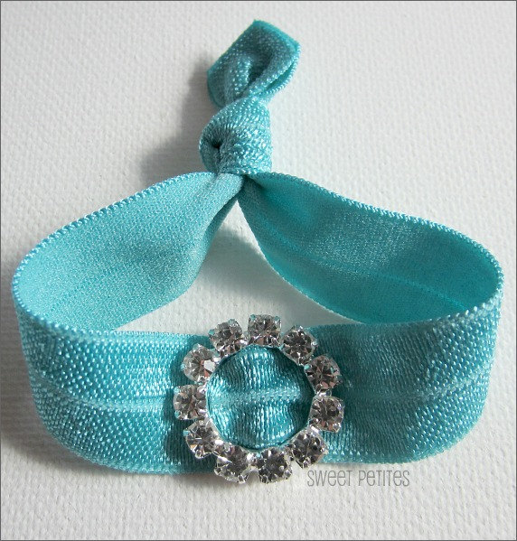 Turquoise Hair Tie - Bling Collection - Rhinestone Embellishment - Doubles as Bracelet