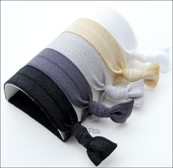 Hair Ties and Headbands - Set of 8 - Doubles as Bracelet - Silver Screen Collection - Elastic Hair Ties