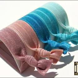 Hair Ties - Sand, Sea &amp; Sky Collection - Set of 5 - Elastic Hair Ties - Sweet Petites