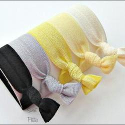 Hair Ties - Lemon Drop Collection - Set of 5 - Doubles as Bracelet - Elastic Hair Ties