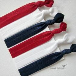 Elastic Hair Tie Patriotic Collection Set of 6 Doubles as Bracelet